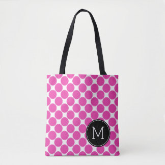 Diva Pink and White Polka Dots with Black Monogram Tote Bag