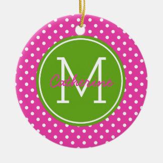 Diva Pink Green Apple and White Polka Dot Monogram Ceramic Ornament