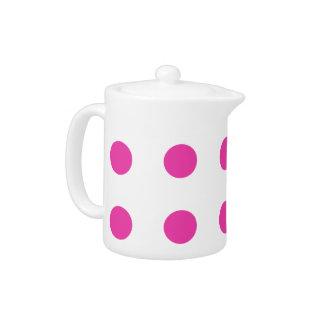 Diva Pink Polka Dots on White Teapot