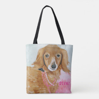 """Diva Pooch"" All-Over-Print Tote Bag"