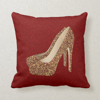 Diva Red Glitter Bling | Glam Gold High Heel Shoes Throw Pillow