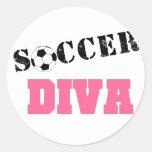Diva Soccer Round Stickers