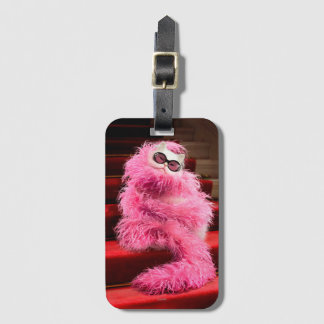 Diva White Cat Wrapped in Pink Boa on Red Carpet Luggage Tag