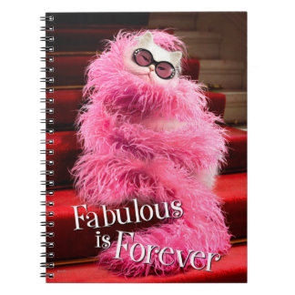 Diva White Cat Wrapped in Pink Boa on Red Carpet Notebook