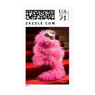 Diva White Cat Wrapped in Pink Boa on Red Carpet Postage
