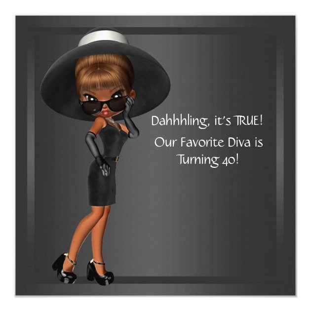 Diva Womans African American Birthday Party Card Zazzle