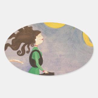 Diva Working Woman Oval Sticker