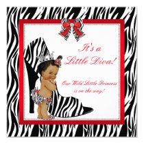 Diva Zebra Princess Girl Baby Shower Ethnic Card