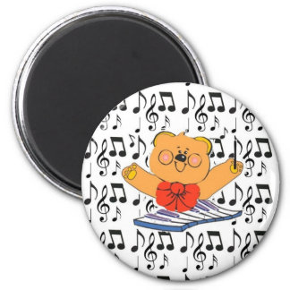 Divabear and Music Notes Button 2 Inch Round Magnet