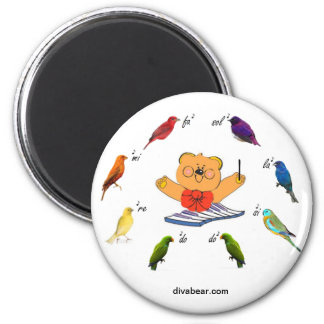 Divabear Leading with Colorful Birds Button 2 Inch Round Magnet