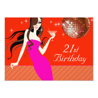 Divalicious Cocktails 21st Birthday Party Card