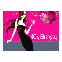 Divalicious Cocktails 40th Birthday Party Card