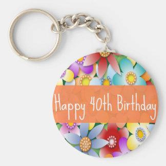 Diva's 40th Birthday Flower Power Keychain