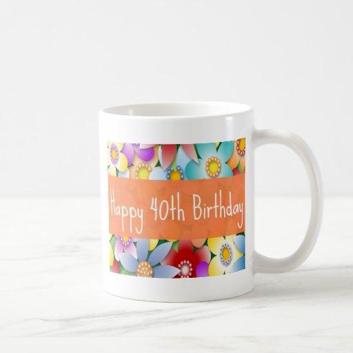 Diva's 40th flower power birthday mug