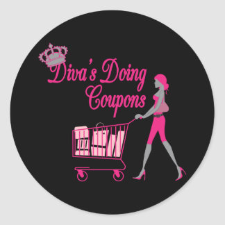 Diva's Does Coupons Classic Round Sticker