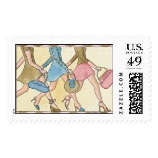 Divas femeninas del chica que hacen compras sello