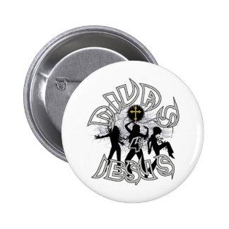 Divas for jesus black and white 2 inch round button