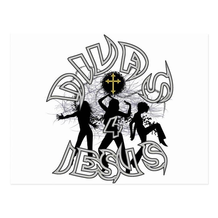 Divas for jesus black and white postcard