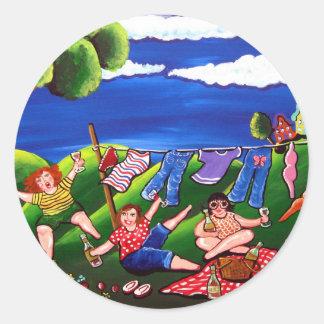 Divas Laundry Day Wine Fun Folk Art Classic Round Sticker