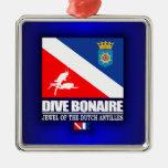Dive Bonaire Square Metal Christmas Ornament