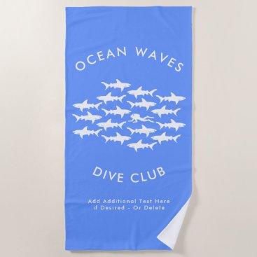 Beach Themed Dive Club Custom Scuba Diver and Sharks Beach Towel