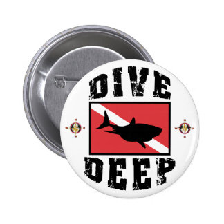 Dive Deep Shark SCUBA Flag 2 Inch Round Button