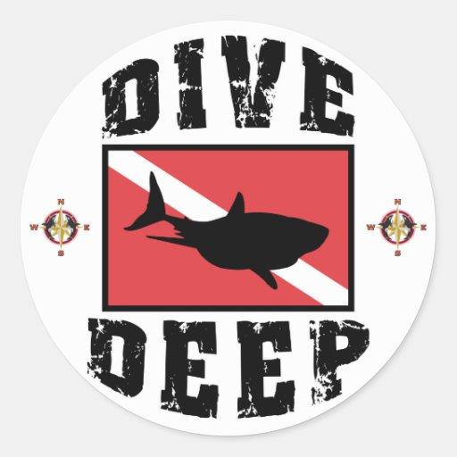 Dive Deep Shark SCUBA Flag Classic Round Sticker