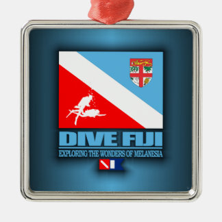 Dive Fiji Square Metal Christmas Ornament