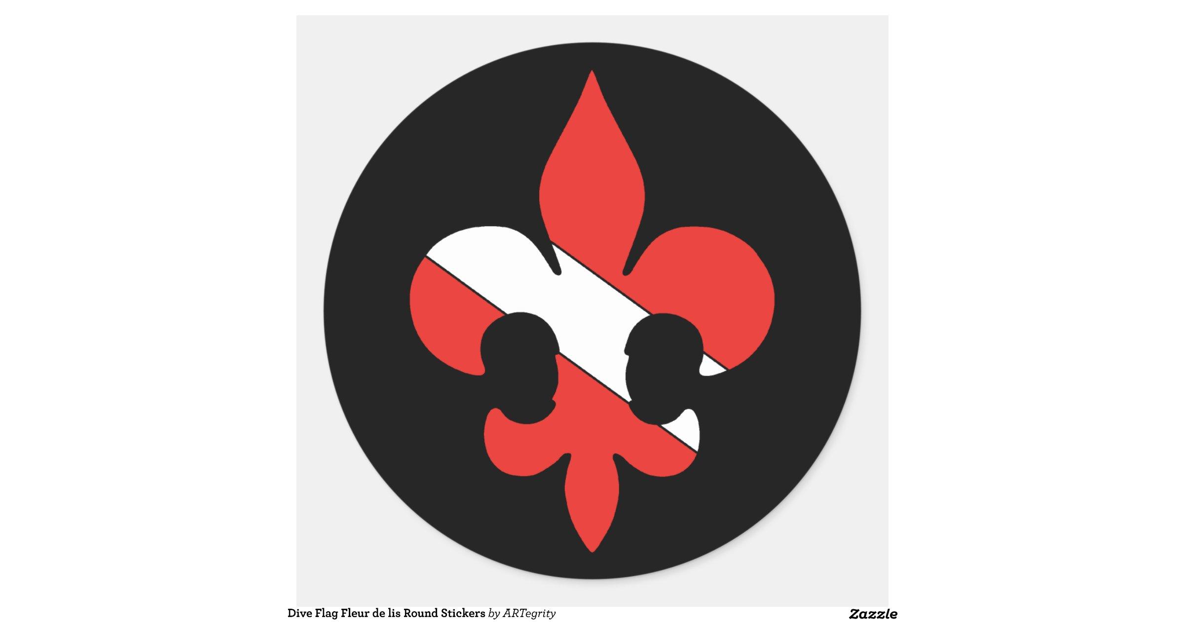 Dive Flag Fleur De Lis Round Stickers
