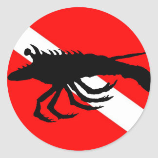Dive Flag Lobster Classic Round Sticker