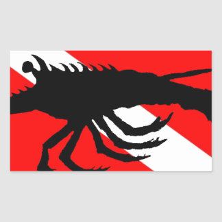 Dive Flag Lobster Rectangular Sticker