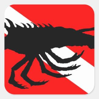 Dive Flag Lobster Square Sticker