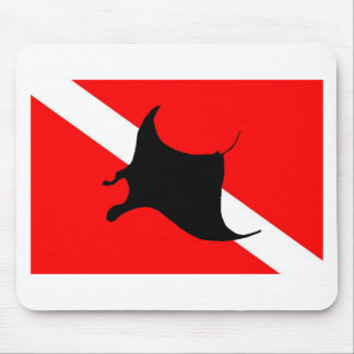 Dive Flag Manta Ray Mouse Pad
