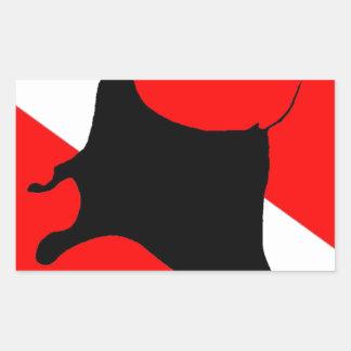 Dive Flag Manta Ray Rectangular Sticker
