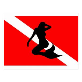 Dive Flag Mermaid Postcard