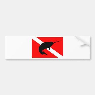 Dive Flag Narwal Bumper Sticker