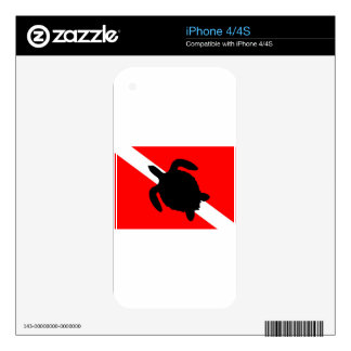 Dive Flag Turtle III Decals For iPhone 4S