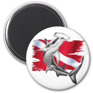 Dive flag with hammerhead shark-diver down 2 inch round magnet