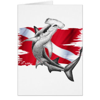 Dive flag with hammerhead shark-diver down card