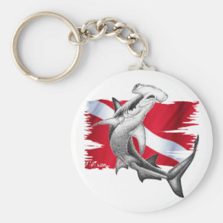 Dive flag with hammerhead shark-diver down keychain
