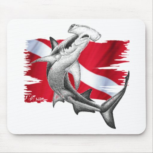 Dive flag with hammerhead shark-diver down mouse pad