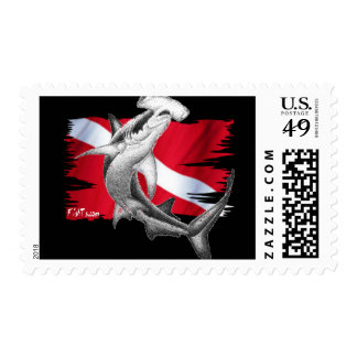 Dive flag with hammerhead shark-diver down postage