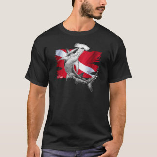 Dive flag with hammerhead shark-diver down T-Shirt