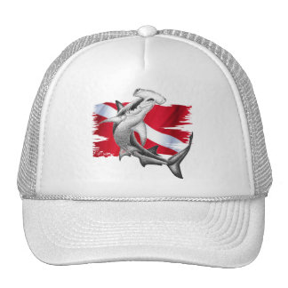 Dive flag with hammerhead shark-diver down trucker hat