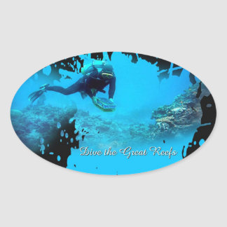 dive great reef oval stickers