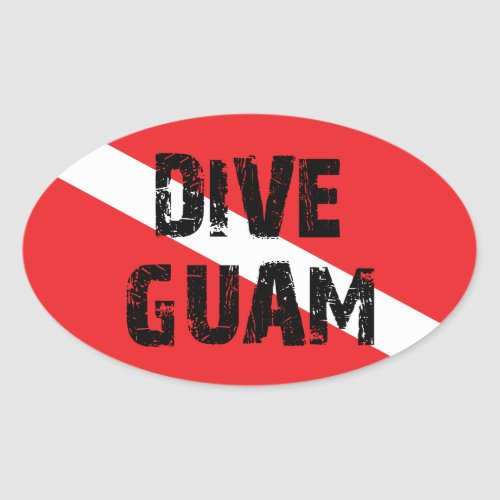 Dive Guam Oval Sticker