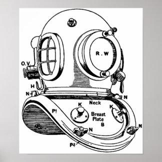 Dive Helmet Illustration Print