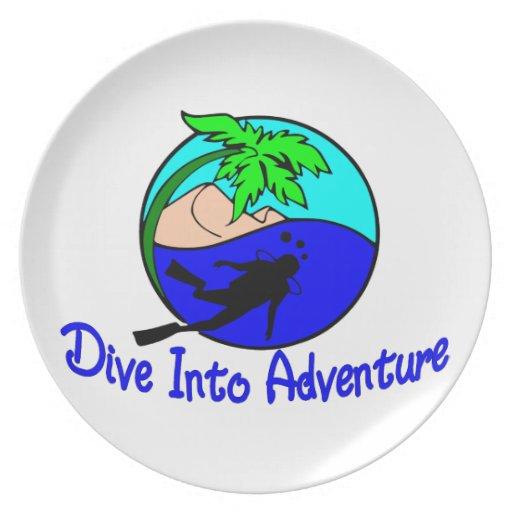 Dive Into Adventure Ocean Diver Party Plates
