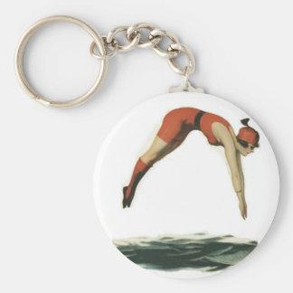 Dive into Water Basic Round Button Keychain