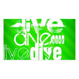 Dive; Neon Green Stripes Business Card